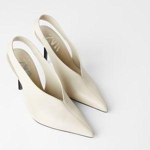 Zara slingback genuine leather heels